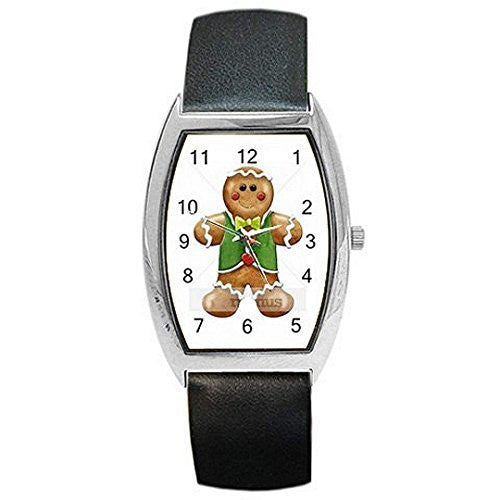Christmas GingerBread Man w/ Vest on a Womens Barrel Watch with Leather Band - Basket HIll Watches & Gifts