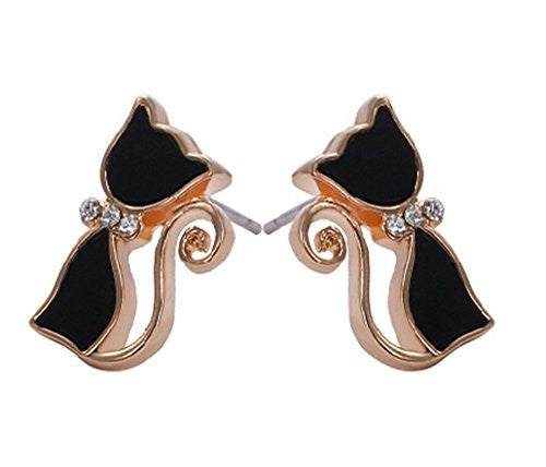Basket Hill. Cat / Kitty Face Black and Gold Girls Post Earrings - Basket HIll Watches & Gifts