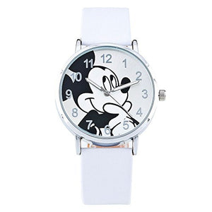 Mickey Mouse on a Round Womens , Mens or Girls White Leather Wrist Watch