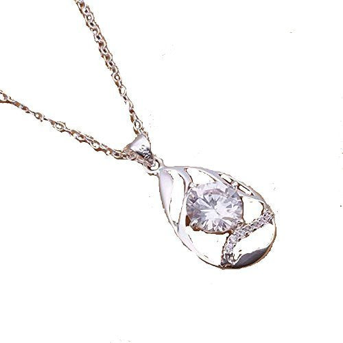 Basket Hill Watches and Gifts, 925 Silver Plated, Cubic Zirconia Tear Drop Ne... - Basket HIll Watches & Gifts