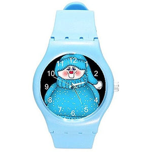 Christmas Winter Blue Snowman on a Girls or Womens Blue Plastic Watch & Band - Basket HIll Watches & Gifts