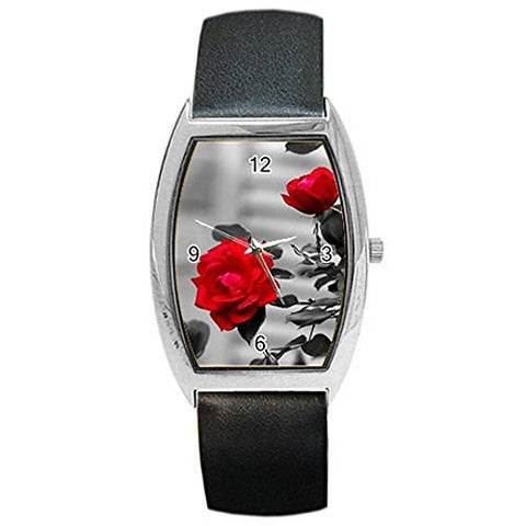 Artistic Red Rose on Black and White on a Womens Barrel Watch with Leather Band - Basket HIll Watches & Gifts