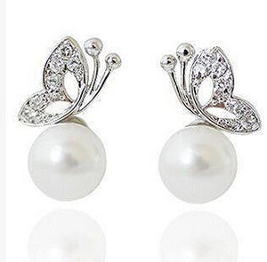 Basket Hill. Butterfly and Pearl (Simulated) Post Earrings - Basket HIll Watches & Gifts