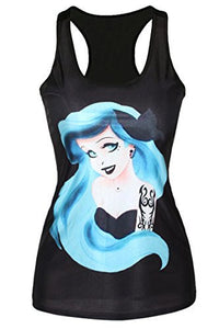 Disney Style Princess with Blue Hair and Punk Tatoos Black Tank Top