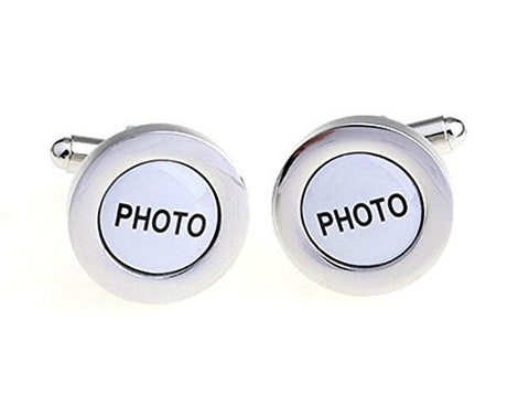 Basket Hill ,Round Photo Frame Silver Tone Cufflinks - Basket HIll Watches & Gifts