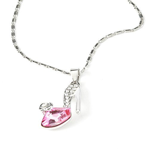 Silver Tone Pink Crystal Shoe Pendent Necklace - Basket HIll Watches & Gifts