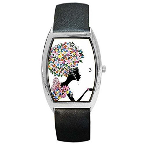 Black (African American) Lady w/ Flower Hair & Cloths on a Womens Barrel Watc... - Basket HIll Watches & Gifts