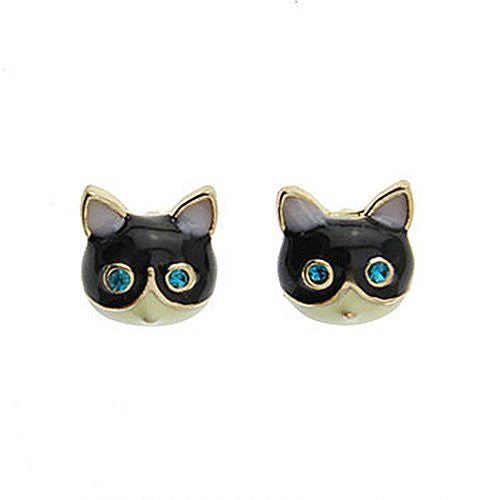 Basket Hill. Cat / Kitty Face with Blue Eyes Girls Post Earrings - Basket HIll Watches & Gifts