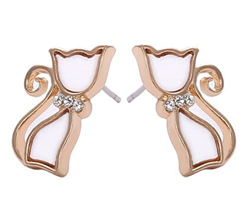 Basket Hill. Cat / Kitty Face White and Gold Girls Post Earrings - Basket HIll Watches & Gifts
