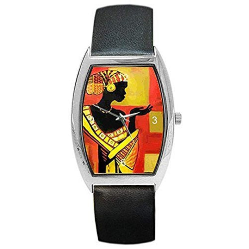 African Women on a Womens or Girls Barrel Watch with Leather Band