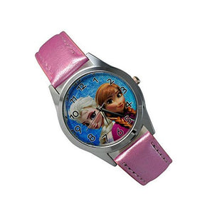 "Disney Frozen "" Princess Elsa and Princess Anna "" on a Girls Pink Leather Wrist Watch - Basket HIll Watches & Gifts"