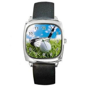 Golf (Club and Ball) on a Mens or Womens Silver Square Watch with Leather Bands - Basket HIll Watches & Gifts