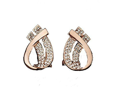 Women's Rose Gold Plated With Austrian Rhinestones,Double Teardrop Post Earrings - Basket HIll Watches & Gifts