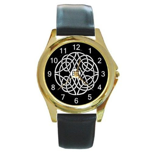 Celtic Design on Black Background on a Gold Tone Watch with Leather Band - Basket HIll Watches & Gifts