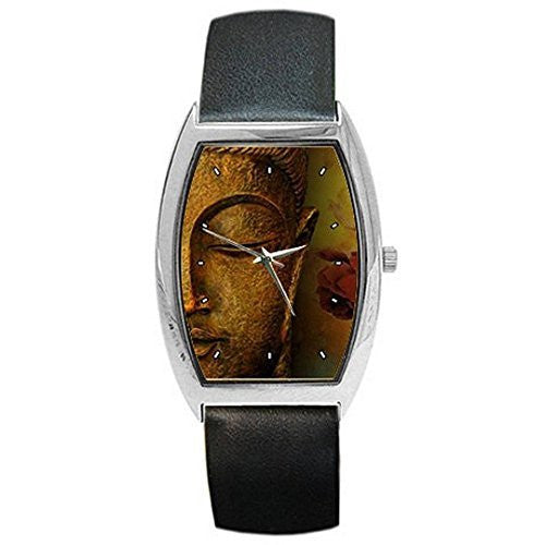 Budda, Siddhartha Gautama on a Womens, Mens Barrel Art Watch with Leath... - Basket HIll Watches & Gifts