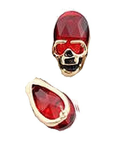 Basket Hill , Silver Tone and Red Rhinestone Skull Post Earrings - Basket HIll Watches & Gifts