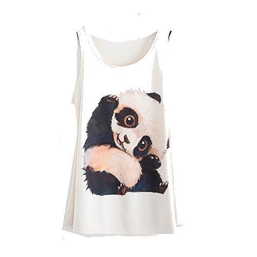 Womens White ( or slightly Off White) Tank Top with Adorable Panda - Basket HIll Watches & Gifts