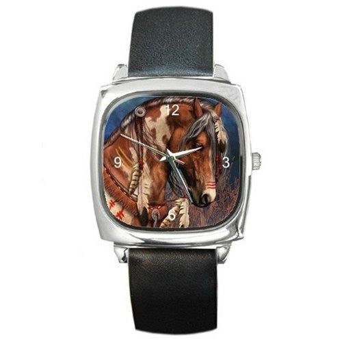 Indian Pony/ Horse on a Silver Square Watch with Leather Band - Basket HIll Watches & Gifts