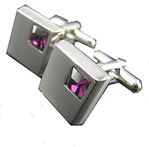 Square Silver Cufflinks with Square Purple Crystal Mens Cufflinks