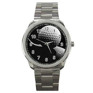 Golf ( Black and White image) on a Mens or Womens Silver Sports Watch-ships from hong kong 2-3 weeks