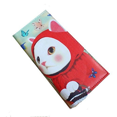 "Little Red Riding 'CAT"" Fold Over Snap Wallet (zipper, Cards, 5 Compartments) - Basket HIll Watches & Gifts"