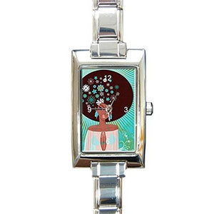 African American Girl on Blue Background on a Womens Watch.. Think Small Wrist - Basket HIll Watches & Gifts