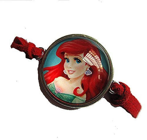 Arial the Mermaid on a Red Leather Girls Strand Bracelet - Basket HIll Watches & Gifts