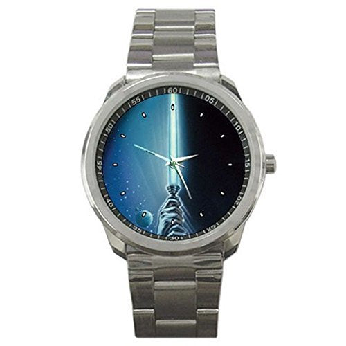 "Star Wars "" Light Saber "" on a Silver Sports Watch - Basket HIll Watches & Gifts"
