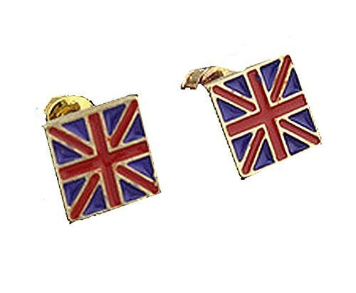 Basket Hill , British Flag and Gold Tones Post Earrings - Basket HIll Watches & Gifts