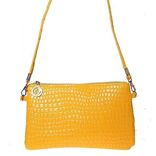 Bright Yellow Womens or Girls Small Clutch/ Shoulder Bag , Purse with Zipper - Basket HIll Watches & Gifts