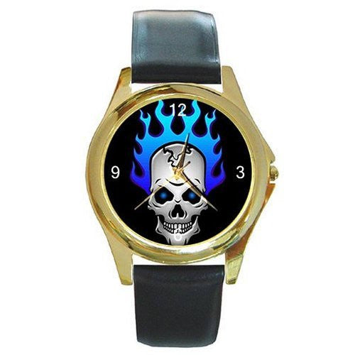 Punk / Gothic Skull with Blue Flame Hair on a Mens Gold Tone Watch with Leather Band - Basket HIll Watches & Gifts
