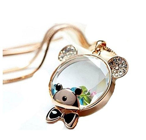 Basket Hill Watches And Gifts Women's Clear Teddy Bear Head Necklace W/ Float... - Basket HIll Watches & Gifts