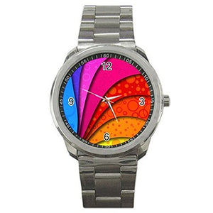 LGBT Gay Rainbow on a Silver Sports Watch-ships from hong kong 2-3 weeks