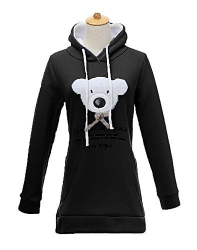Womens Black Teddy Bear Hoodie / Sweater