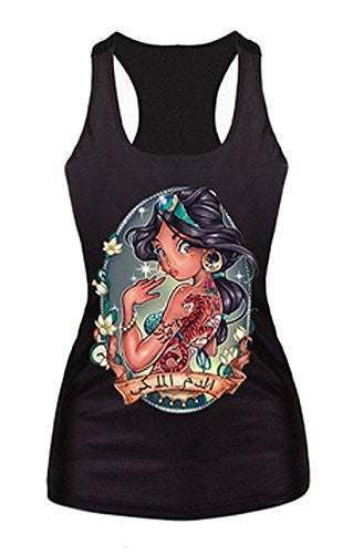 "Womens Modern Punk Disney Princess "" Jasimine "" on a Black Tank Top ( Runs Small)"