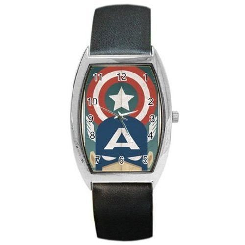 Captain America From a Vintage Poster on a Barrel Watch with Leather Band - Basket HIll Watches & Gifts