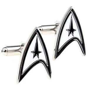 Basket Hill, Star Trek Logo in White, Black and Silver Tone Cufflinks - Basket HIll Watches & Gifts