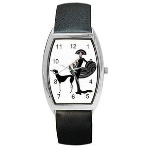 Art Deco Erte Lady with Grey Hound on a Womens Barrel Watch with Leather Band - Basket HIll Watches & Gifts