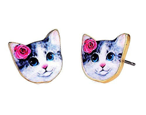 Cat / Kitty Face with Pink Flower on Girls Post / Stud Earrings