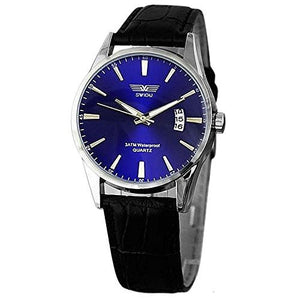Swidu Blue Face Mens Watch with w/ Date and Black Leather Band - Basket HIll Watches & Gifts