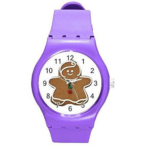 Christmas Gingerbread Man on a Womens or Girls Purple Plastic Watch. - Basket HIll Watches & Gifts