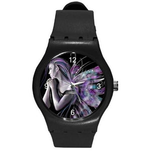 Goth Punk Purple Fairy on a Black Plastic Watch , Black Band [Watch]  ships from hong kong 2-3 weeks