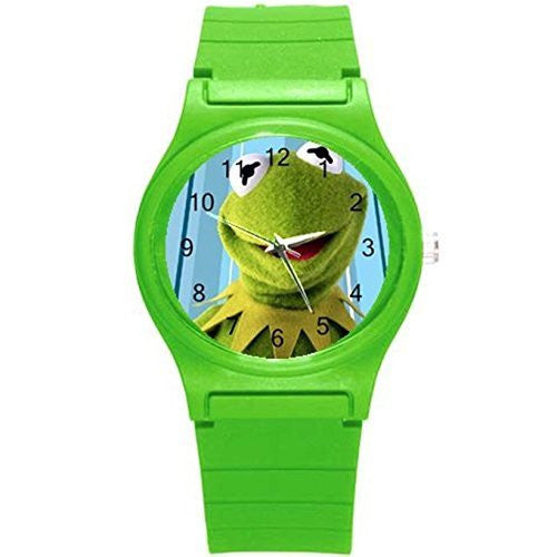 Kermit the Frog Girls or Boys Watch with Green Plastic Watch Band - Basket HIll Watches & Gifts