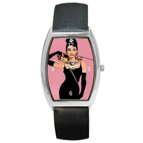 "Audrey Hepburn in ""Breakfast in Tiffany's "" on a Barrel Watch with Leather Band - Basket HIll Watches & Gifts"