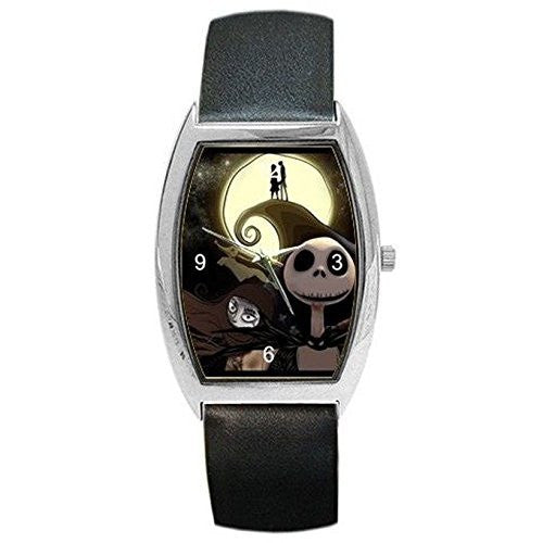 Halloween , Jack Skellington on Womens or Mens Barrel Watch with Leather Band