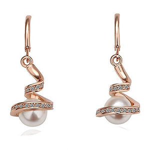 Basket Hill Watches and Gifts 18k Gold Plated, Austrian Crystal Swirl Wrapped Pearl Dangle Earrings - Basket HIll Watches & Gifts
