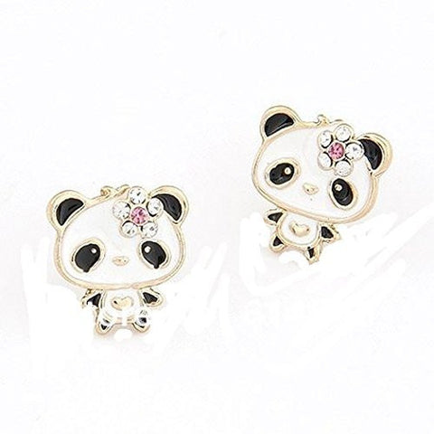Basket Hill , Panda Bear with Flower on Head Post Earrings - Basket HIll Watches & Gifts