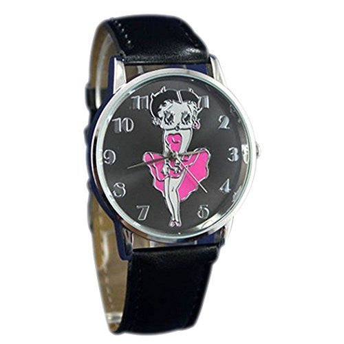 Charming Betty Boop Watch with Black Leather Bands