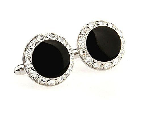 Basket Hill , Round Black and Clear Crystal Mens Cufflinks - Basket HIll Watches & Gifts