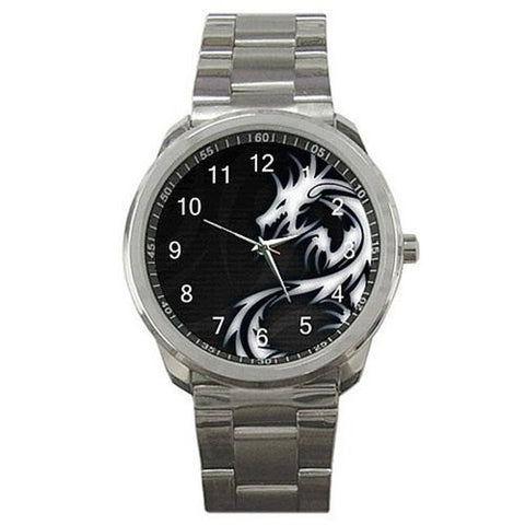 Oriental or Celtic Dragon (White on Black) on a Silver Sports Watch - Basket HIll Watches & Gifts